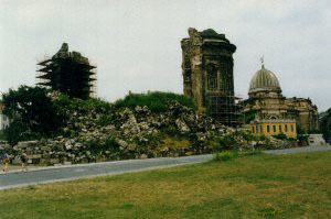 The remains of the Frauenkirche in 1991.